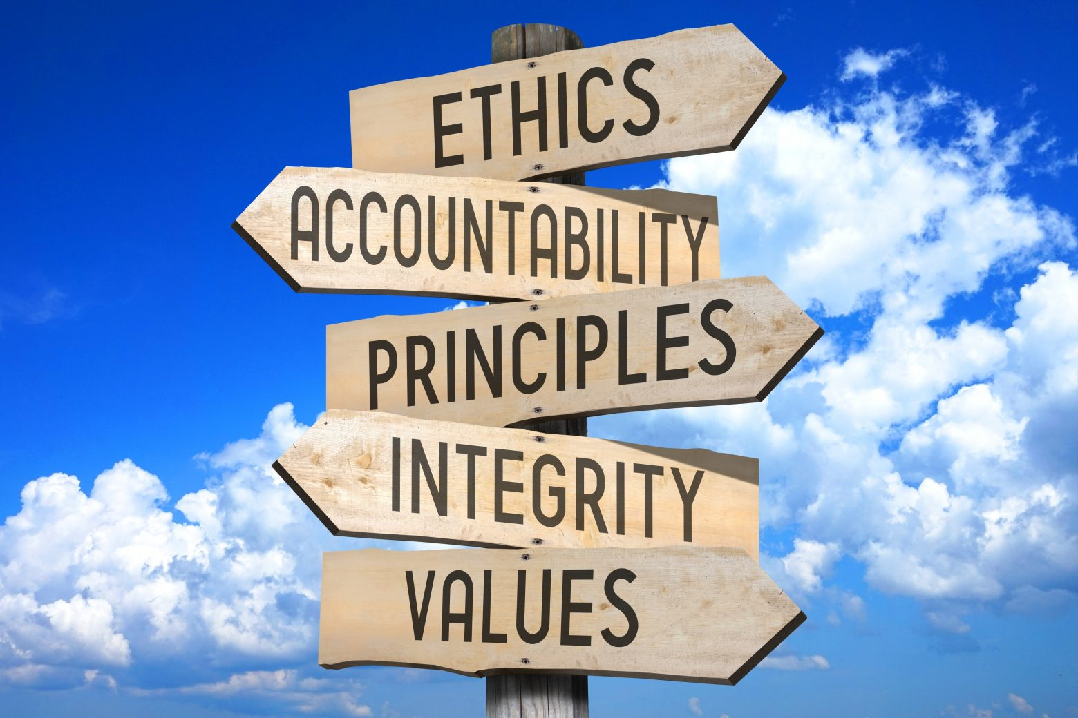 This is a signpost that shows elements of what is needed to develop an ethical decision-making model: ethics, accountability, principles, integrity, and values